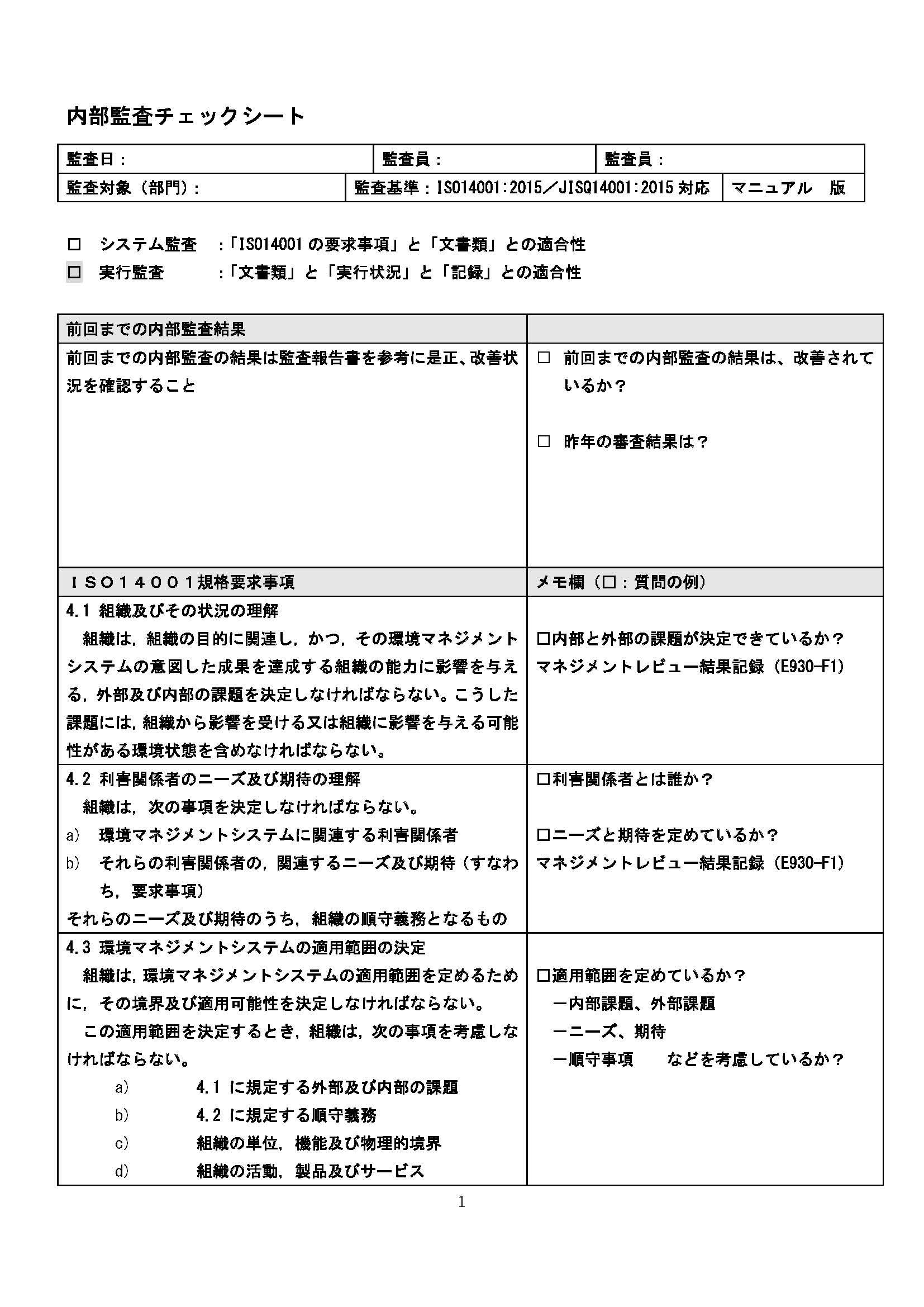 内部監査チェックシート(2015年版)